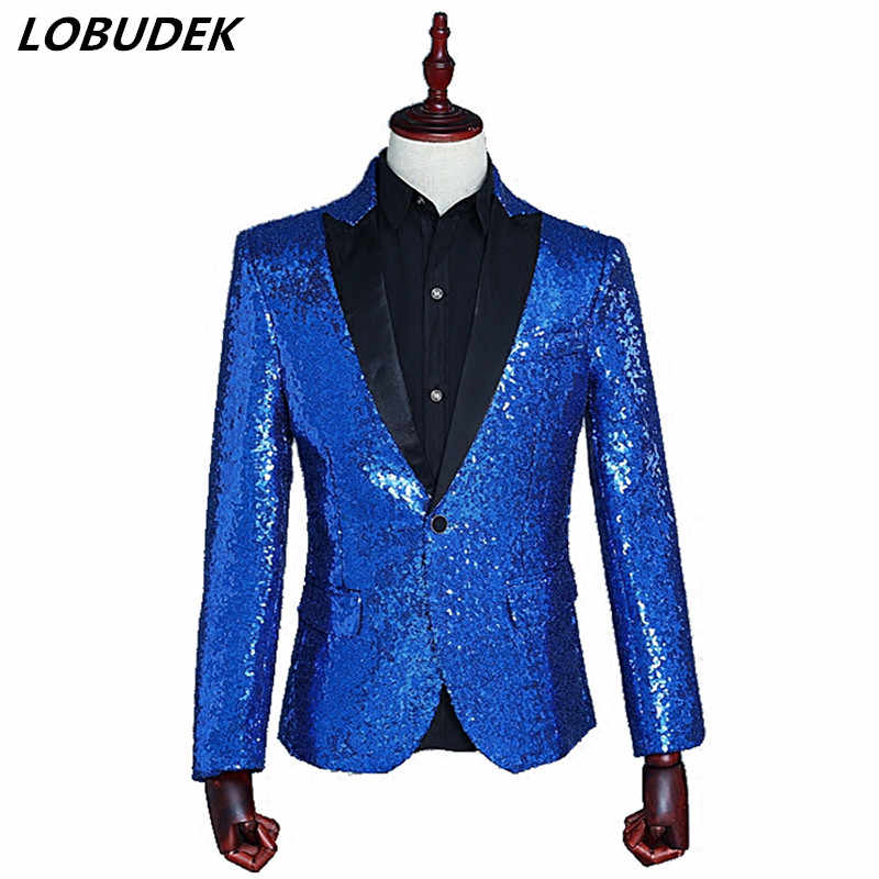 74a0fcdbf2a51 Sparkling sequins Men s suit jacket slim blazers coat Nightclub singer  Costume prom Bar Host star stage