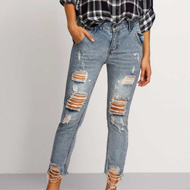 Summer 2017 Vintage Women Sexy Ripped Holes Jeans Ladies Elastic Waist Skinny Stretch Nine Pencil Pants Casual Denim Trousers