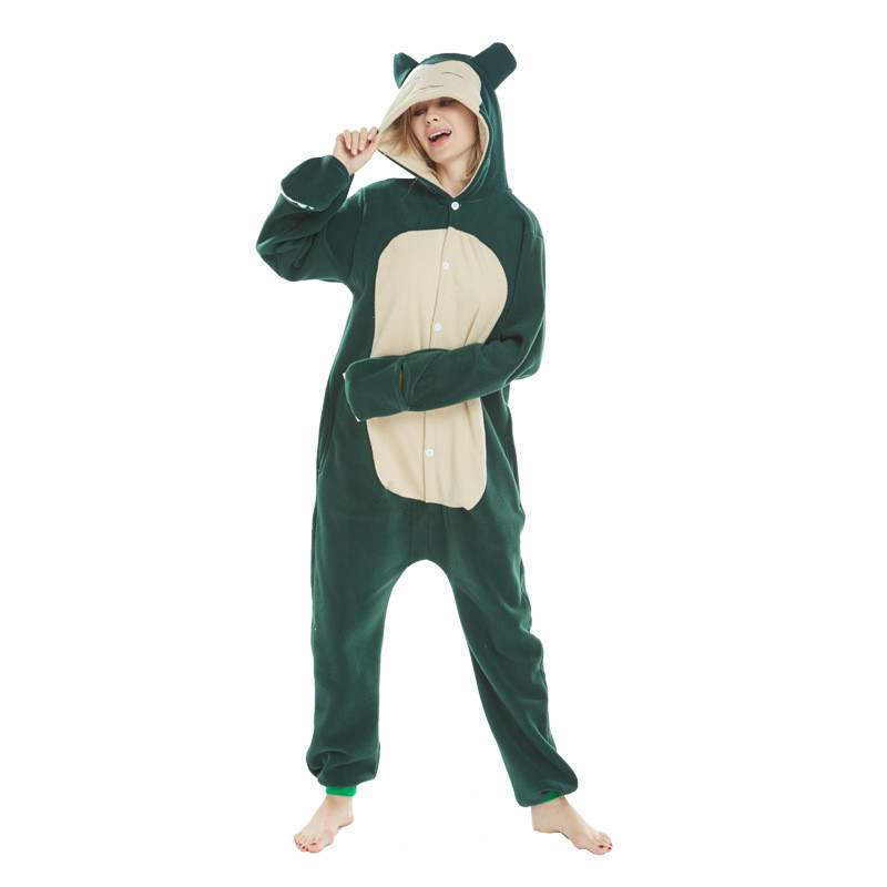 New Snorlax Kigurumi Onesies Pajamas High Quality Animal Winter Warm Fleece Adult Reindeer Family Party Sleepwear