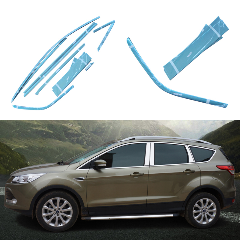 Stainless Steel Styling Full Window Trim Decoration Strips For Ford Kuga Escape 2013 2014 Car Accessories OEM-10-16-24 high quality stainless steel strips car window trim decoration accessories car styling for 2009 2014 chevrolet cruze 24 piece