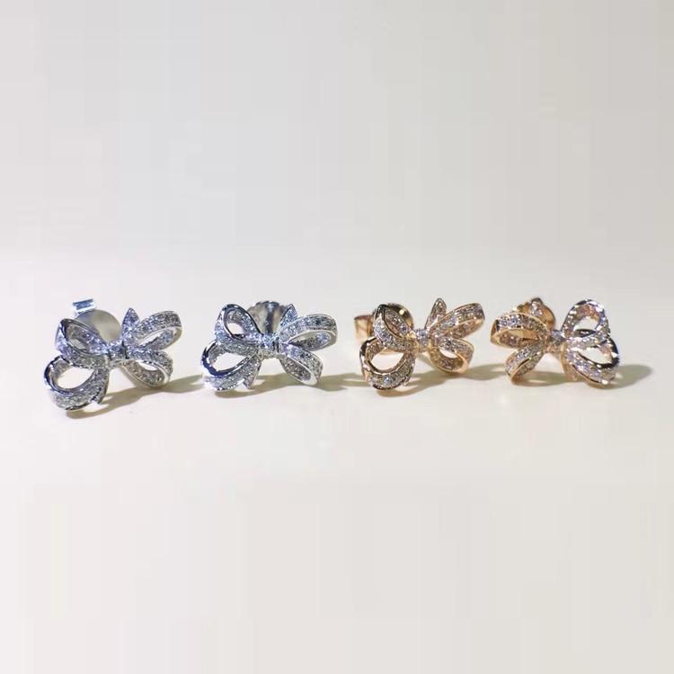 LASAMERO 0 132 CTW Flower Natural Diamond Bow Earrings 18K White