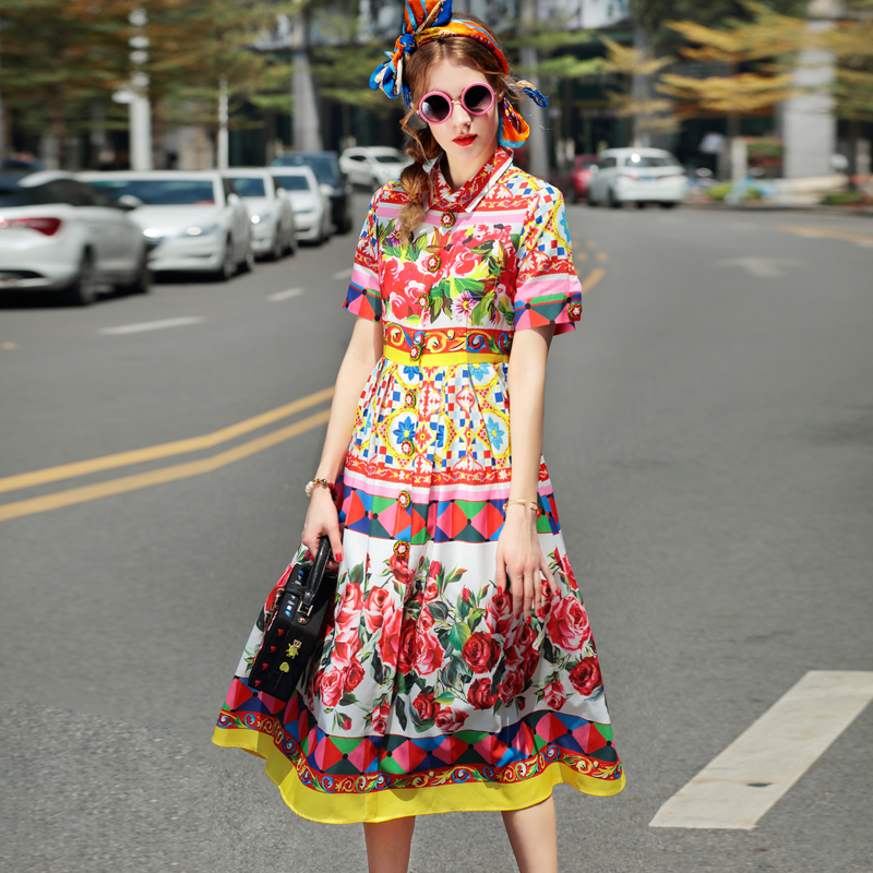 High quality 2017 new designer summer dresses casual fashion women Turn-down Collar Short sleeve Button rose Flower print dress