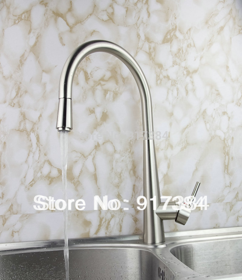 New Concept Kitchen Sink Faucet Basin Nickle Brushed Brass Single Handle Swivel Kitchen Faucet Finish JN92352