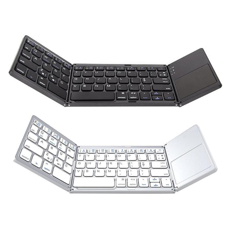 Bluetooth Keyboard Universal Folding Wireless Bluetooth 3.0 Ultra Mini Keyboard Touch Pad Mouse for iOS Android Microsoft mini ultra thin universal bluetooth v2 0 59 key keyboard for android red white