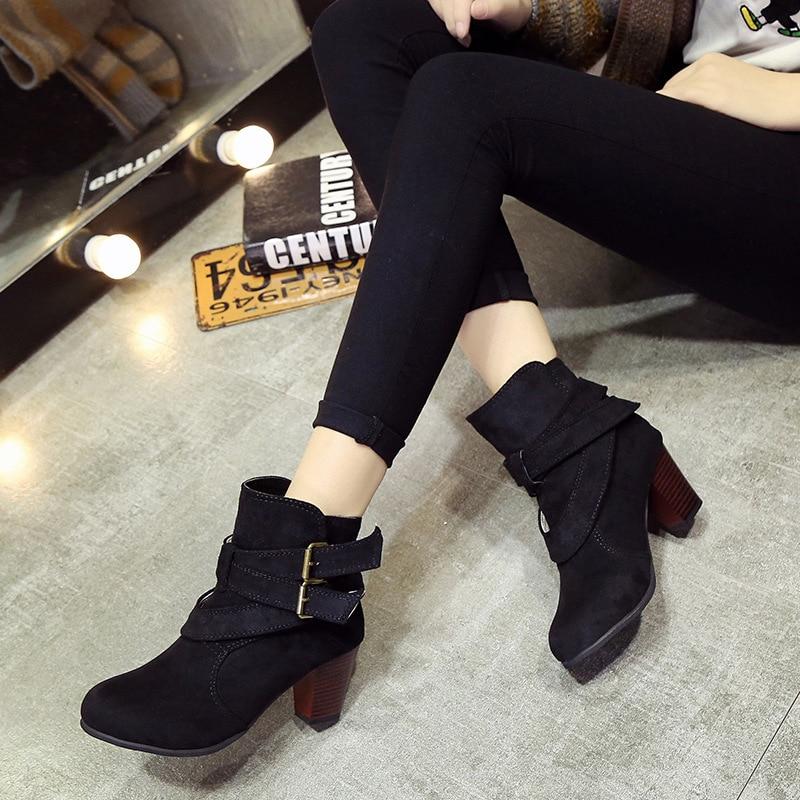 Hauts Noir Chaussures 2018 De À Zipper marron Martin Neige Daim Dames Boucle jaune En Mode Femmes Boot Bottes Hiver Casual Automne Talons Hr8SgZH