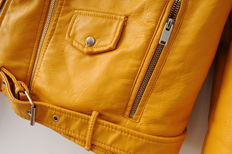 New Arrival 2020 brand Winter Autumn Motorcycle leather jackets yellow leather jacket women leather coat  slim PU jacket Leather