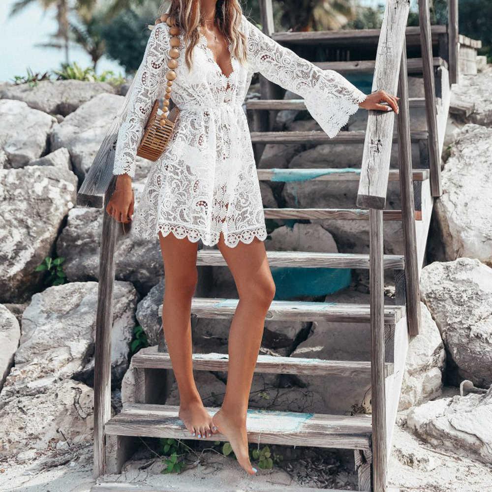 2019 Европейская и американская мода сексуальное прозрачное женское кружевное пляжное платье с длинным рукавом и v-образным вырезом