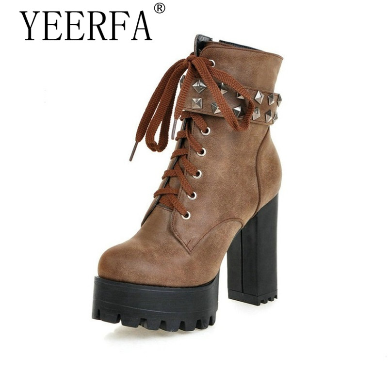 YEERFA Square High Heel Shoes Women Punk Motorcycle Boots Lace-up Rivets Ankle Boots Platform Ladies Fashion Boot Size 35-43