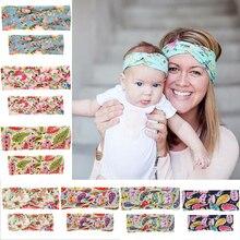 New popular beautiful Parent-child hair allover print crocing headbands girls knots head wear accessories for children 10set/lot недорого