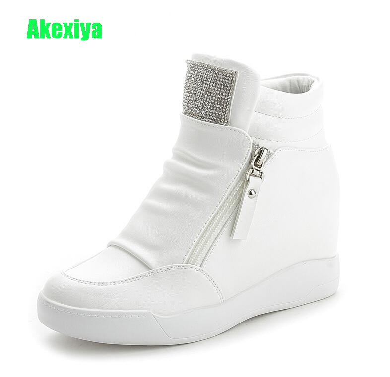 Detail Feedback Questions about Akexiya New Fashion White Rhinestone Wedges  Sneakers Women Platform Shoes Height Increasing Woman Trainers Ladies Casual  ... 68279a6e0438