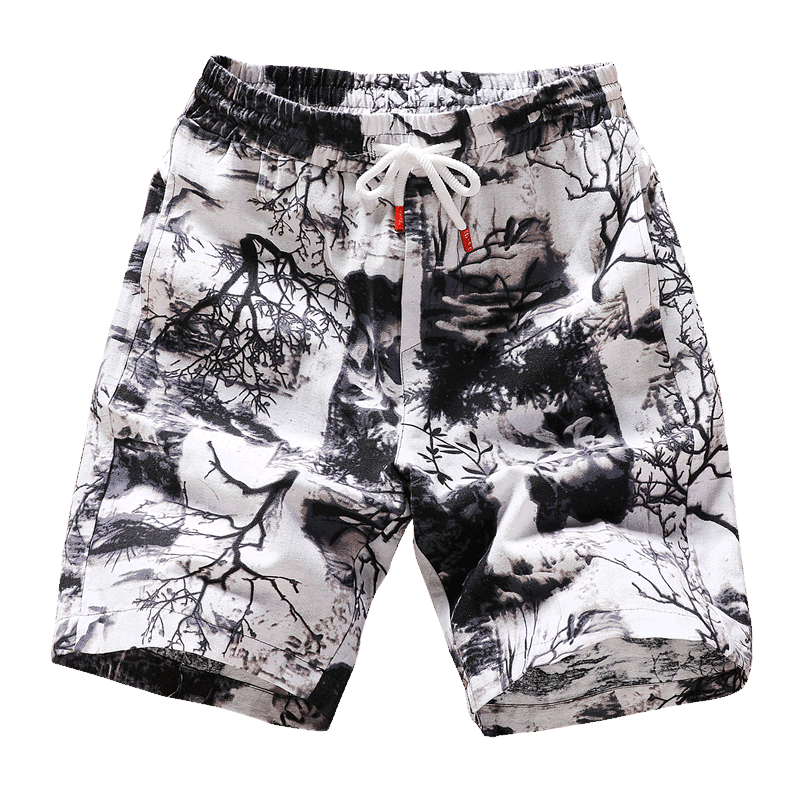 New Fashion Printed Men Cotton Shorts Men's Casual Shorts Drawstring Waist Bermuda Shorts S-4XL Drop Shipping ABZ262