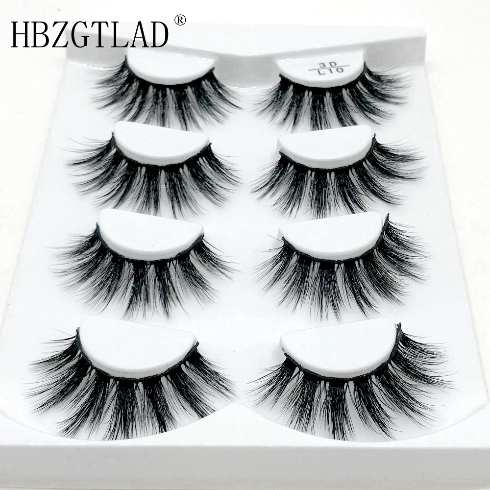 HBZGTLAD 4 Pairs Natural False Eyelashes Fake Lashes Long Makeup 3d Mink Lashes Eyelash Extension Mink Eyelashes For Beauty(China)