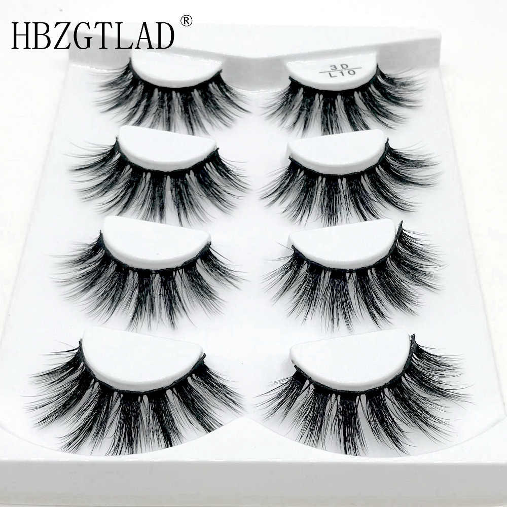 HBZGTLAD 4 pairs natural false eyelashes fake lashes long makeup 3d mink lashes eyelash extension mink eyelashes for beauty