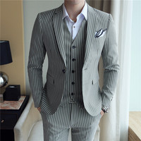 HOO 2018 men suit English cultivate one's morality stripe a grain of buckle suit three piece groom wedding dress