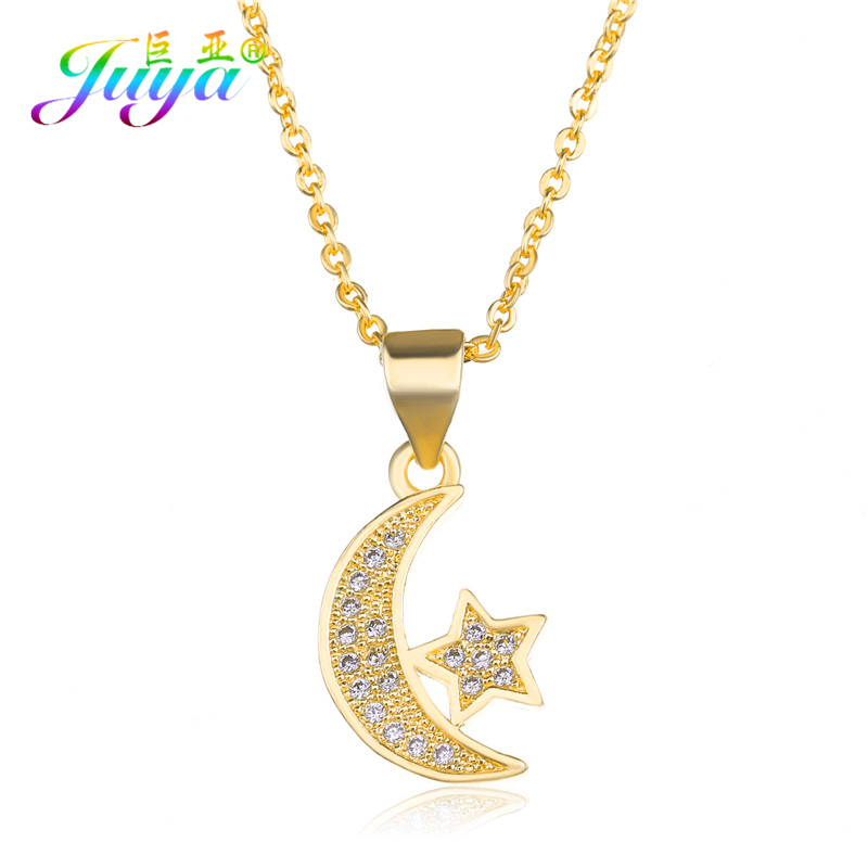 e131e12f40816 US $1.71 42% OFF|Juya Handmade Muslim Jewelry Necklace Gold/Silver/Rose  Gold Crescent Moon Star Pendant Necklace For Allah Ramadan Necklace-in  Pendant ...