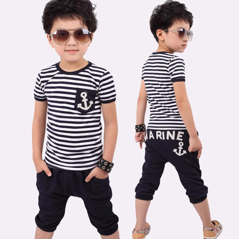 Summer Kids Clothes, Navy Short Sleeve Pullover Striped Sports Suit, Hot Sale New 2017 Casual Boys Clothing set