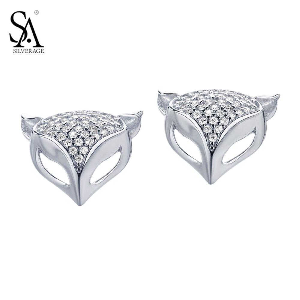 SA SILVERAGE 925 Sterling Silver Fox Stud Earrings Daughter & Mom Stud Earrings S925 Fine Jewelry Women Accessories