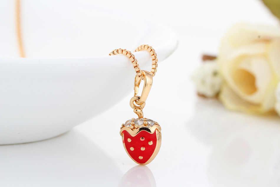אדום תות צהוב זהב צבע תליון שרשרת ועגילים טבעת Smalle פירות תכשיטי סטים עבור בנות ילדי ילדים
