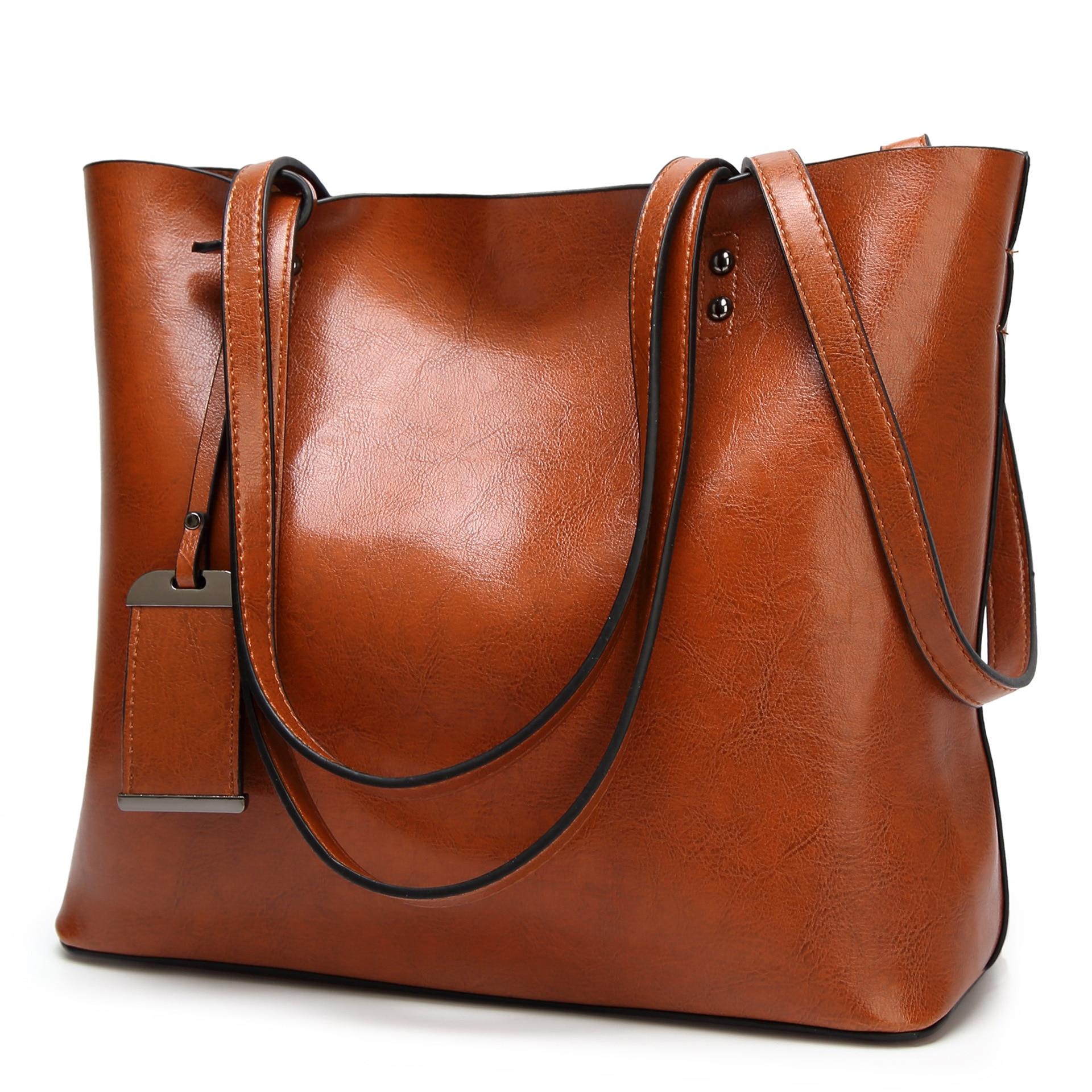 Сумка ведро из вощеной кожи, простая сумка через плечо с двойным ремешком для женщин 2018, универсальная сумка для шоппингаСумки с ручками   -