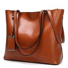 Waxing Leather bucket bag Simple Double strap handbag shoulder bags For Women 2020 All Purpose Shopping tote sac bolsa feminina
