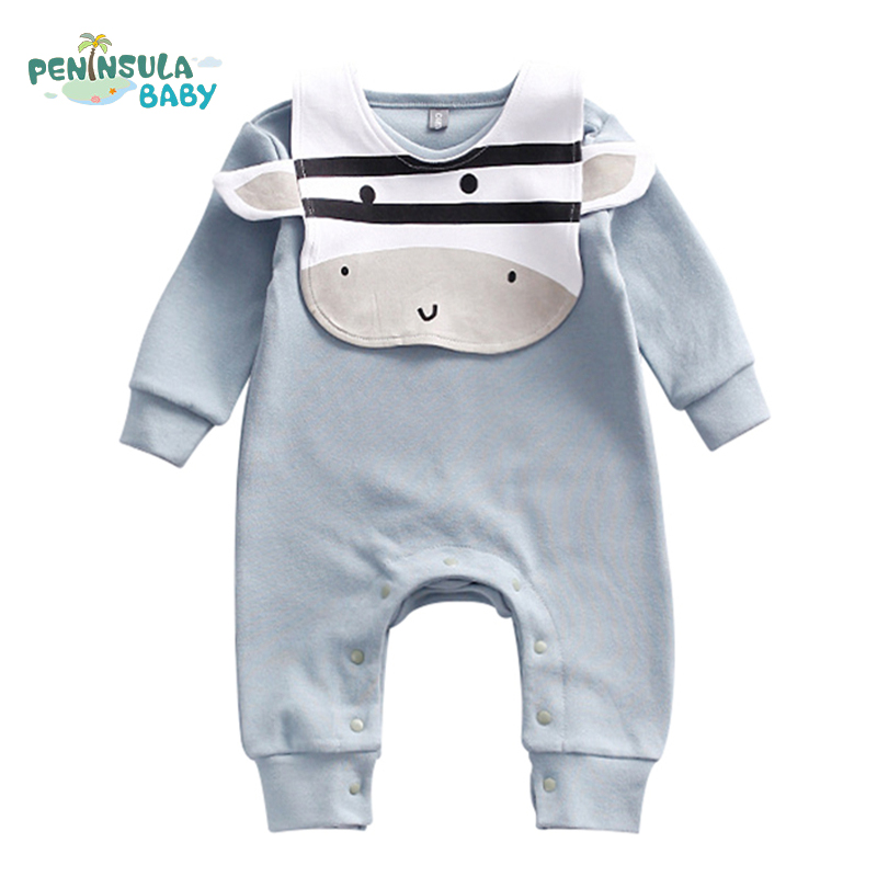 Autumn Long Sleeve Newborn Rompers Cotton Boys Girls Clothing Character Animals Cow Zebra Infant Jumpsuit Casual Baby Body Suit