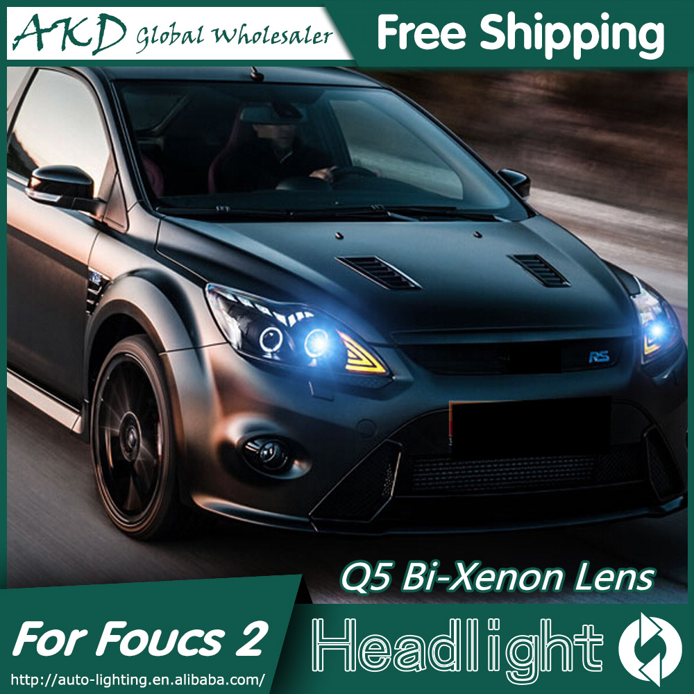 AKD Car Styling for Ford Focus Headlights 2009-2011 Focus 2 LED Headlight DRL Bi Xenon Lens High Low Beam Parking Fog Lamp car styling led head lamp for ford focus2 headlights 2009 2012 focus led headlight turn signal drl h7 hid bi xenon lens low beam