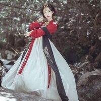 Hanfu Dress Women/Ladies Elegant Red Hanfu Clothes Chinese Traditional Costumes Chinese Ancient Costumes Folk Dance Skirt DQL349