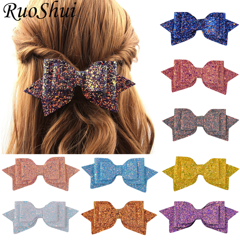 5 Inch Hair Clip Women Baby Girl Big Glitter Hair Bow Kids Hairpins Hair Clip for Children Hair Accessories Toddler   Headwear