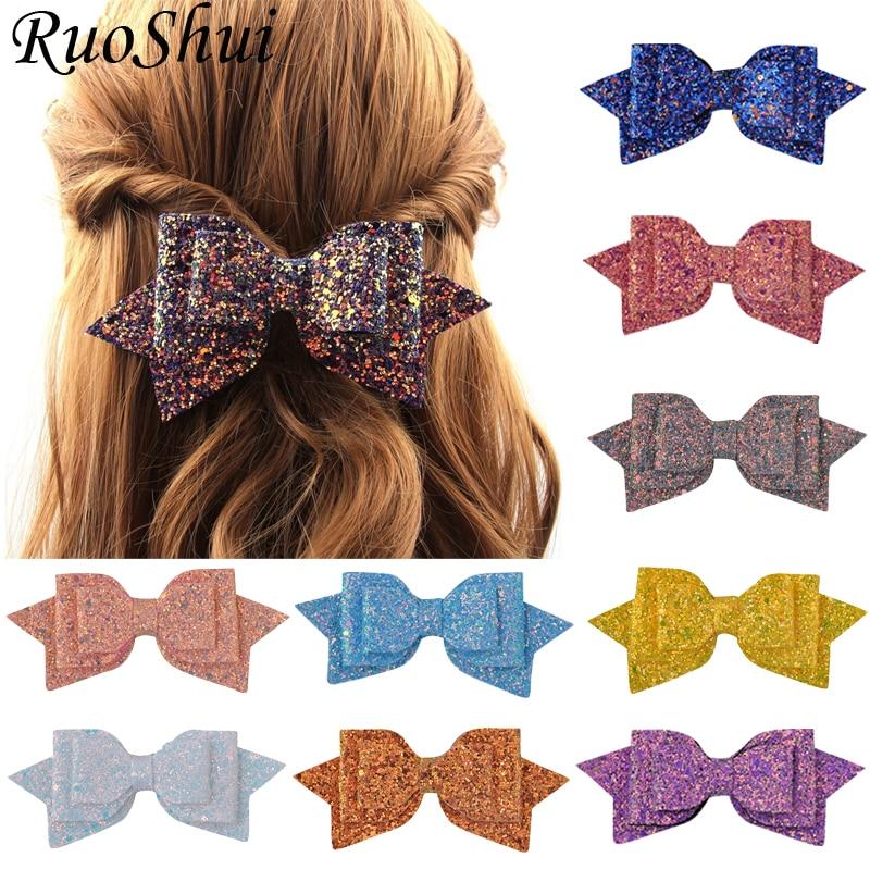 5 Inch Hair Clip Women Baby Girl Big Glitter Hair Bow Kids Hairpins Hair Clip for Children Hair Accessories Toddler Headwear