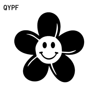 QYPF 14.2cm*14.2cm Delicate Face A Smile Brilliant Flower High Quality Vinyl Distinctly Car Sticker Decal C18-0532