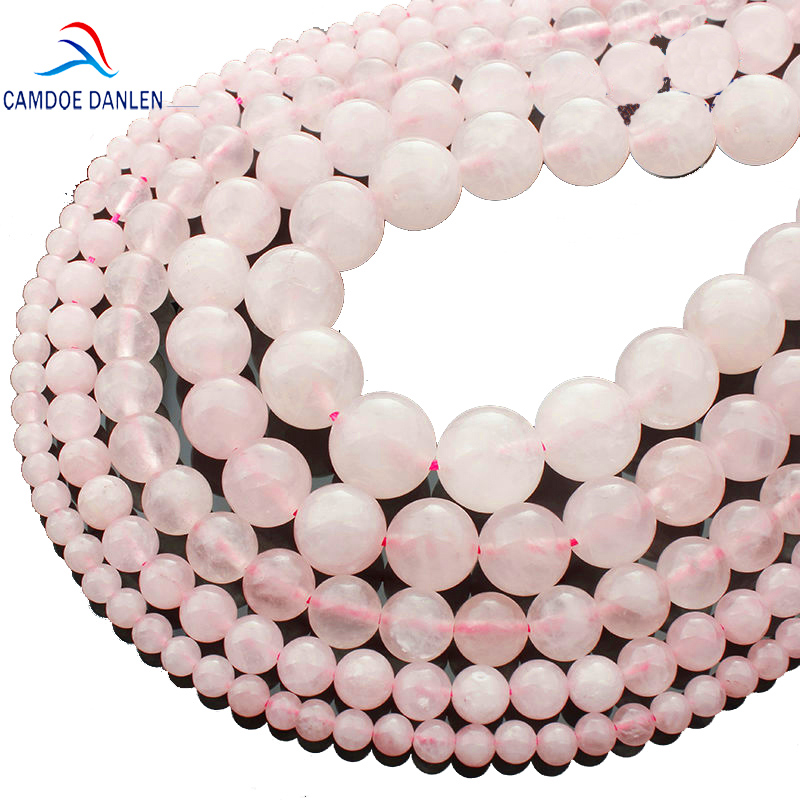 CAMDOE DANLEN Light Natural Stone Rose Pink Quartz Rock Crystal Beads 4/6/8/10/12 / 14mm Fit Diy Seed beads for ոսկերչական իրերի պատրաստման համար