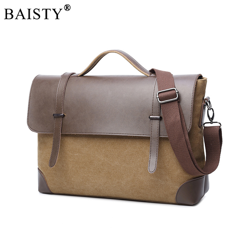 2018 New Men Canvas vintage Casual Briefcase Business Shoulder Bag Messenger Bags Computer Laptop Handbag Bag Men's Travel Bags футболка wearcraft premium slim fit printio акула