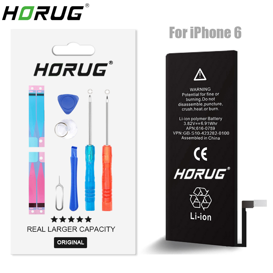 2018 NEW HORUG 100% Original Mobile Phone Battery For iPhone 6 Battery Original Capacity Sticker Replacement 6G Phone Batteries