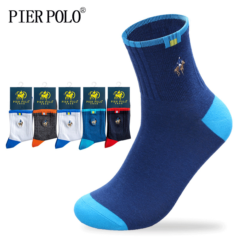 5 Pairs PIER POLO Men Casual Cotton Brand Socks Business Embroidery High Quality Fashion Multicolor Wholesale 2019 New