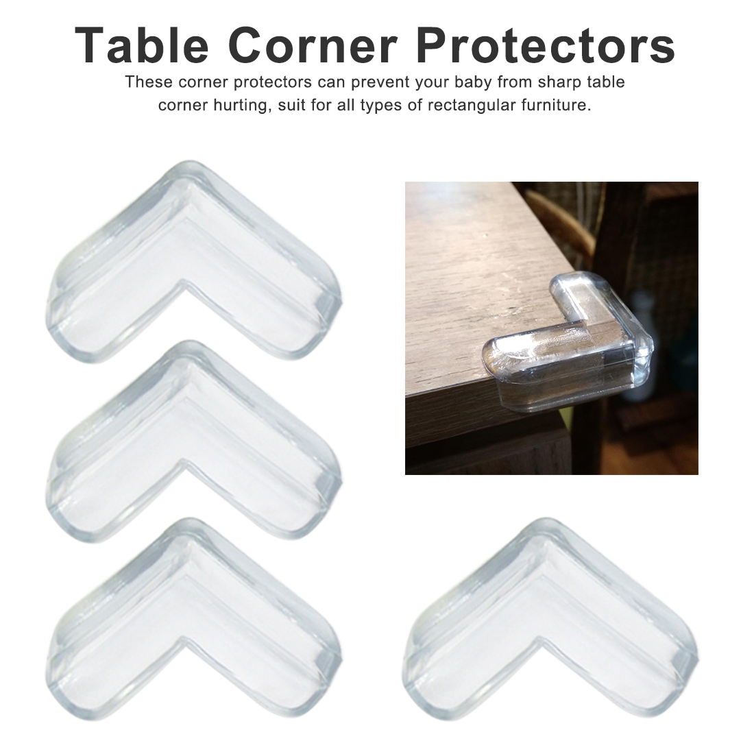 4pcs Kids Baby Safety Silicone Protector Table Corner Protection From Children Anticollision Edge Corners Guards Cover 4pcs Kids Baby Safety Silicone Protector Table Corner Protection From Children Anticollision Edge Corners Guards Cover