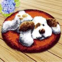 Latch Hook Rug Kits DIY Needlework Unfinished Crocheting Yarn Cushion Mat White Dog at Rest 3D Embroidery Decorative Carpet