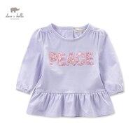 DB3693 Dave Bella Autumn Baby Girl Light Purple T Shirt Infant Clothes Girls Cute T Shirt