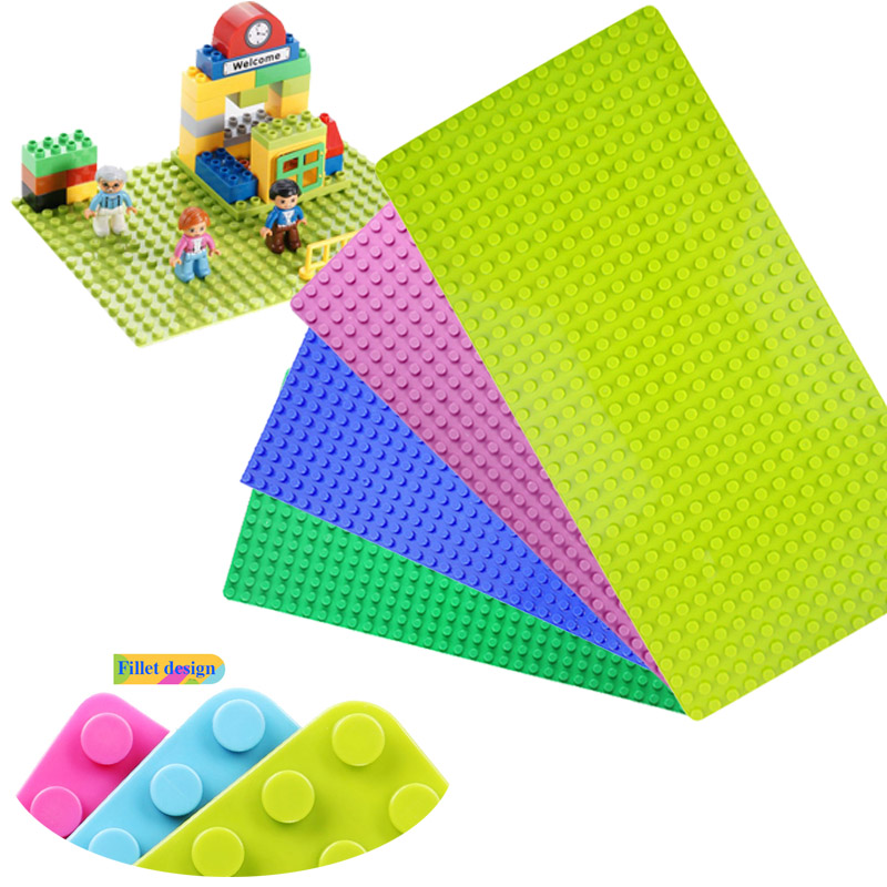 Minecrafted Big Blocks Base Plate 32*16 Dots 51*25.5 cm DIY Baseplate Building Blocks Toys For Children Compatible Legoed Duplo 32 32 dots plastic bricks the island straight crossroad curve green meadow road plate building blocks parts bricks toys diy