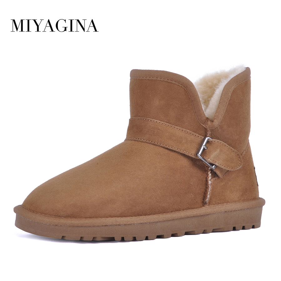 MIYAGINA Hot Sale Sheepskin Snow Boots Classic Style Brand Women Boots Winter High quality Waterproof Ankle Boots botas mujer hot sale brand new high quality safer body fitness building pro circle chin up system gravity inversion boots