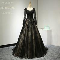 Lange Mouwen Lace Vintage Avondjurk met Kant Applicaties Corset Terug Gotische Prom Zien Door Top Formele Gown