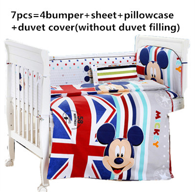 Promotion! 6/7PCS Cartoon baby bedding set 100% cotton baby bed sheet toddlers crib bedding set , 120*60/120*70cm