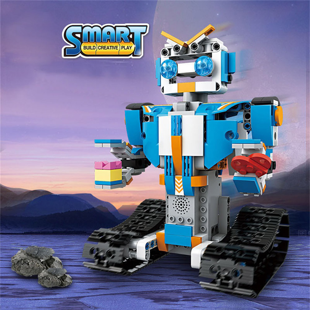 DIY Building Blocks Walking RC Smart Robot Electronic Robot STEM Toy ...