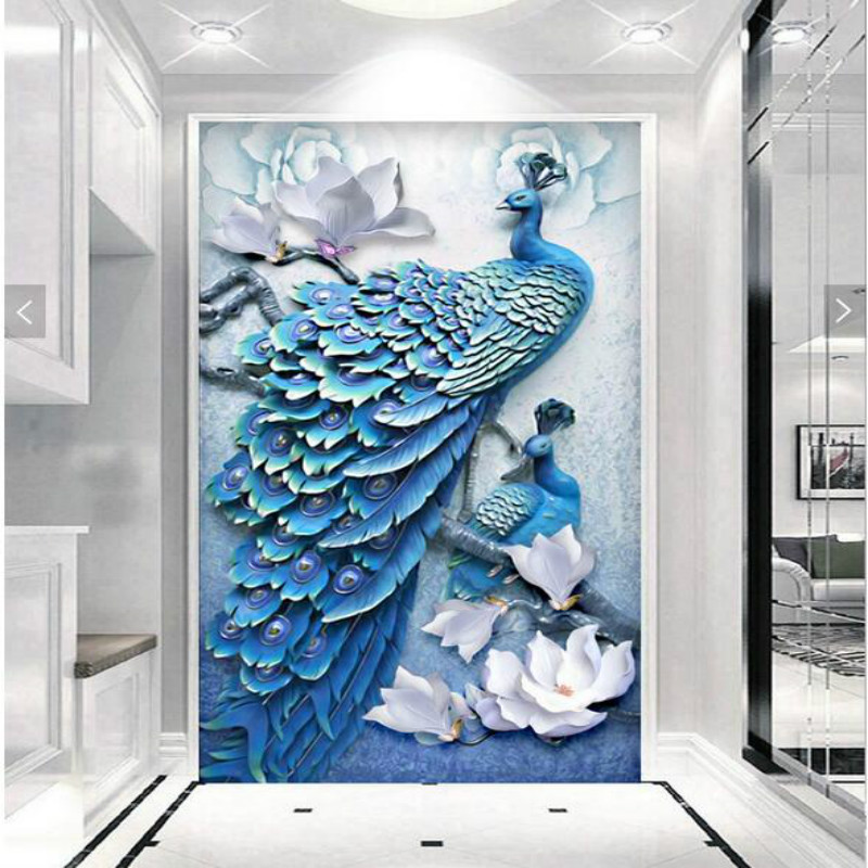 custom home improvement 3d wall paper rolls wallpaper for walls Embossed 3d peacock entrance  background wall wallpaper murals vintage wallpaper modern 3d embossed imitation wood texture wall paper rolls for walls restaurant cafe background wall cocvering