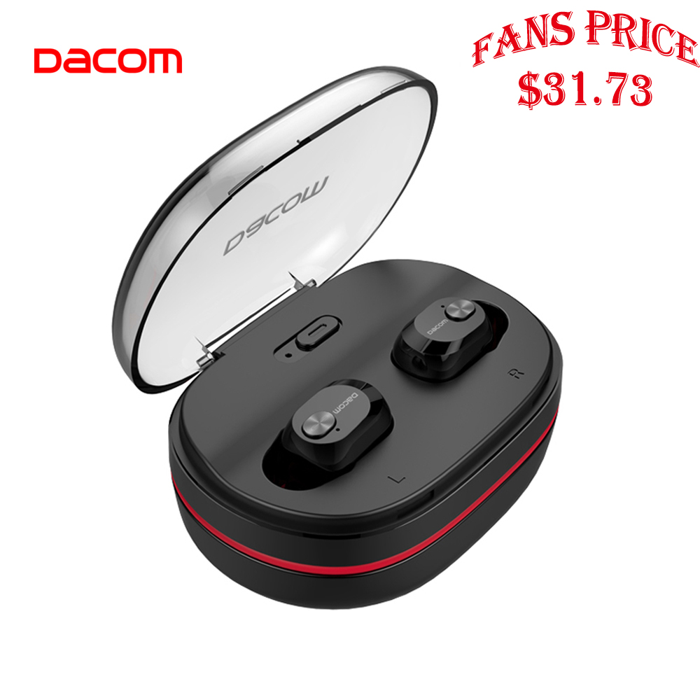 DACOM Mini TWS Bluetooth Earphones with Mic True Wireless Stereo Earbuds In-ear Earpiece w/Charging Dock for Phone iPhone Xiaomi