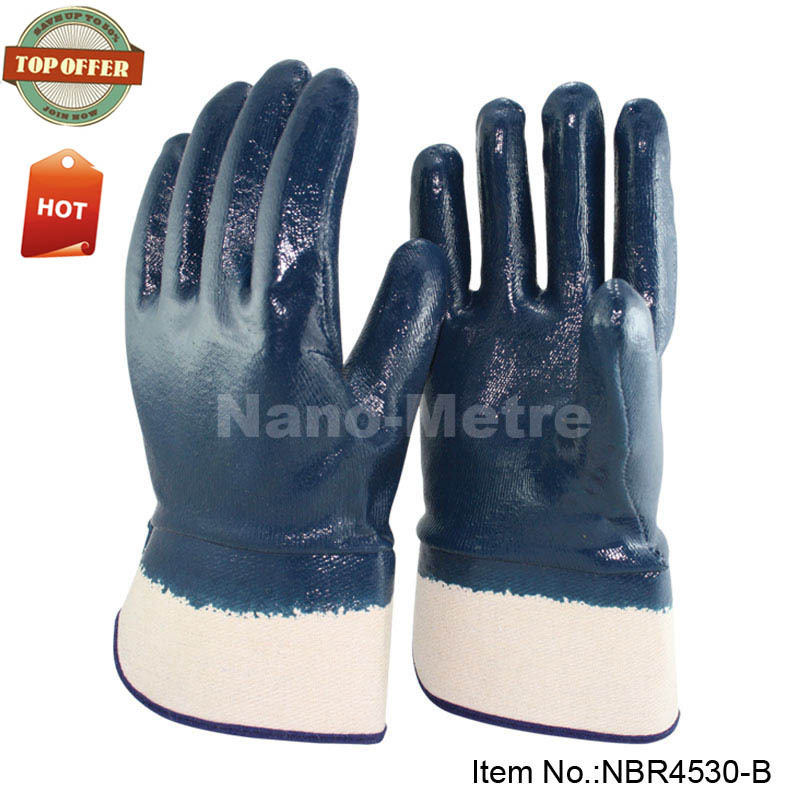 NMSafety oilproof heavy duty work gloves, full coated nitrile,safety cuff, glove manufacturer evans b14hdd 14 genera heavy duty dry coated