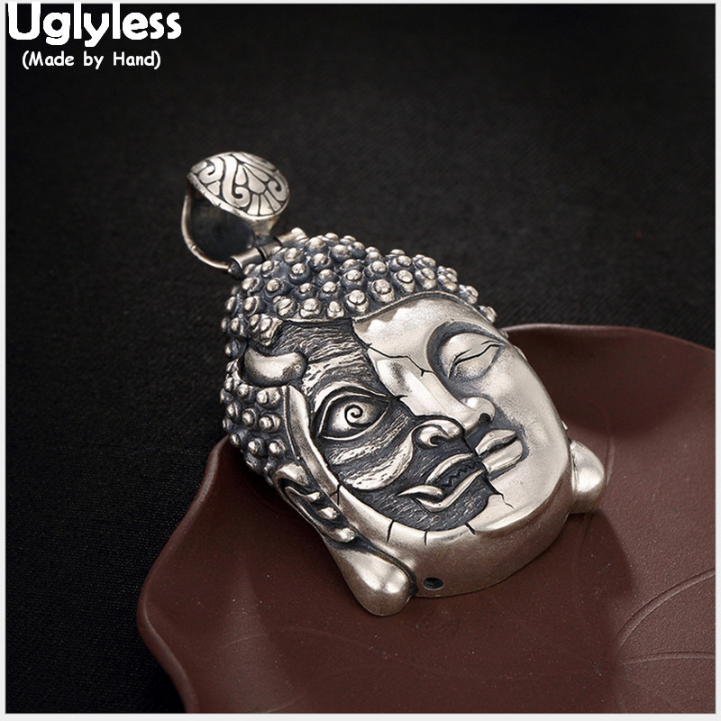 Uglyless Real 925 Sterling Silver Buddhism Head Pendant without Chain Half Demon Half Buddha in a moment Men Fine Jewelry CarvedUglyless Real 925 Sterling Silver Buddhism Head Pendant without Chain Half Demon Half Buddha in a moment Men Fine Jewelry Carved