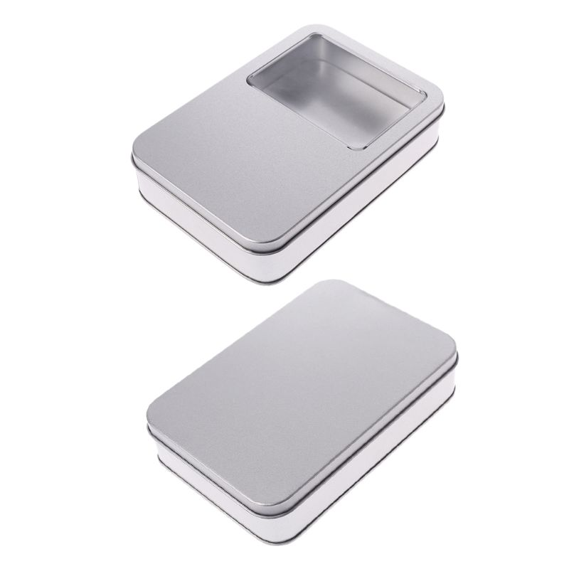 Small Metal Tin Storage Box Case Organizer Silver For Money Coin Candy Key