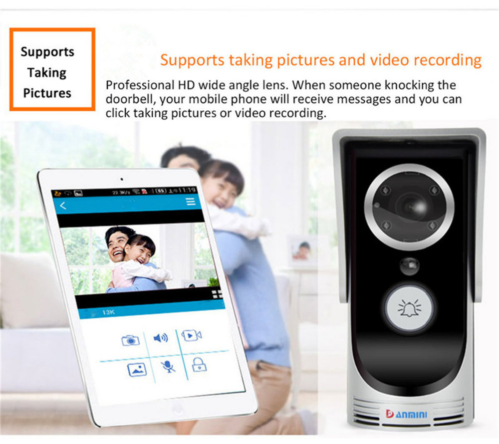 Wireless WIFI Video Door Phone Doorbell Intercom System Home Security Night Vision Waterproof Camera with Rain Cover 3MP HD 720P цена