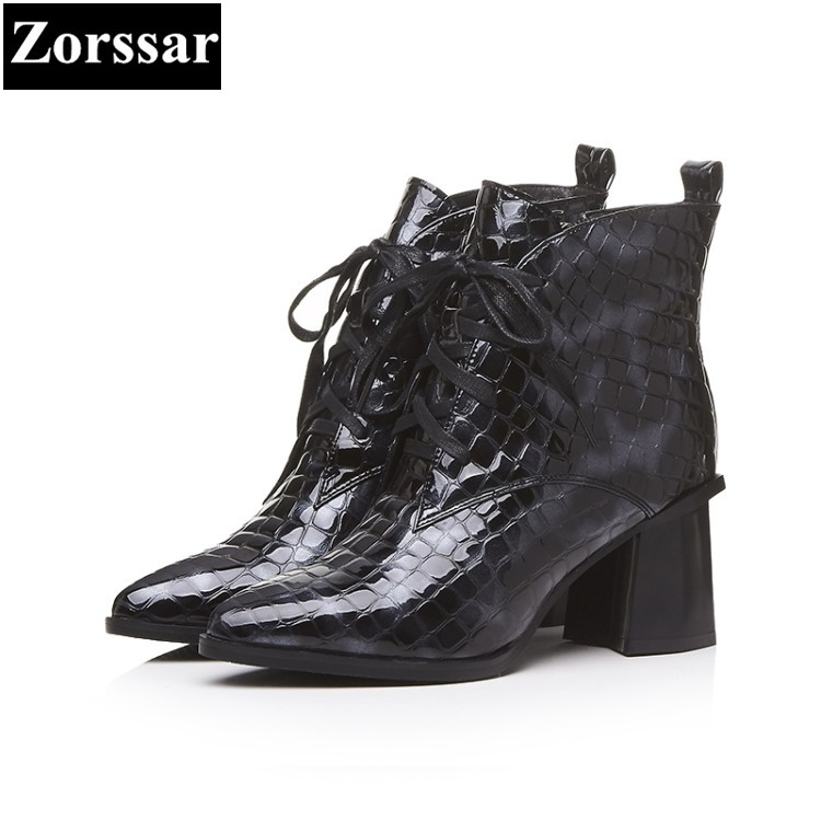 {Zorssar}2018 NEW Large size Women Boots Patent leather pointed Toe High heels ankle Motorcycle boots Autumn winter womens shoes enmayla ankle boots for women low heels autumn and winter boots shoes woman large size 34 43 round toe motorcycle boots