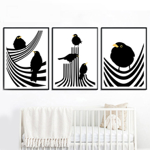 цена на Abstract Line Black White Bird Nordic Poster And Prints Wall Art Canvas Painting Animal Wall Pictures For Living Room Home Decor